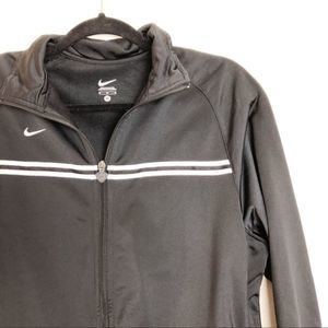 Nike Men's Black Zip Up White Stripes Jacket